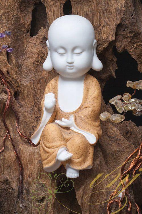 Lũa Bonsai Đá Quý Tượng Chú Tiểu Ngồi Thiền Gốm Tử Sa LBS - B001