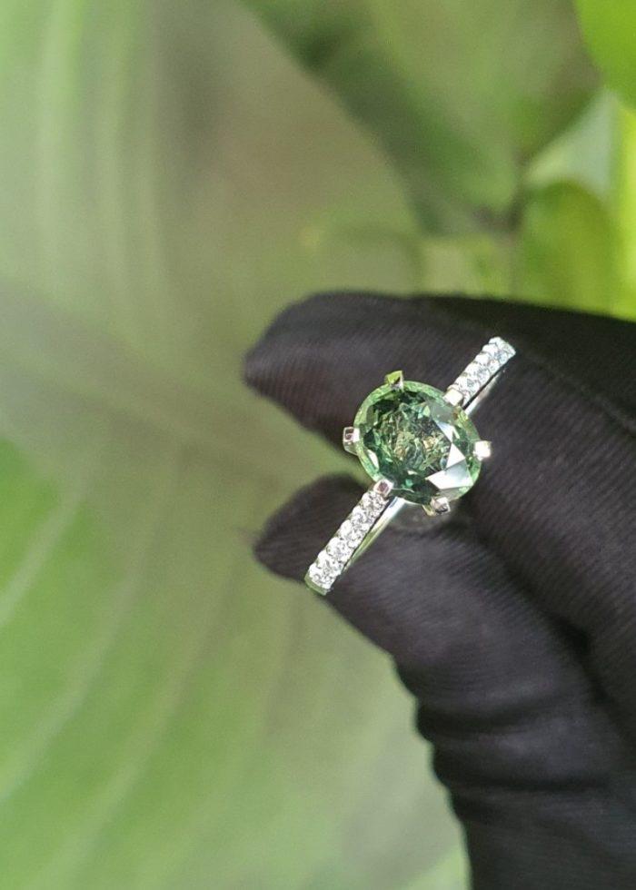 Nhẫn Đá Sapphire Green Vàng Trắng