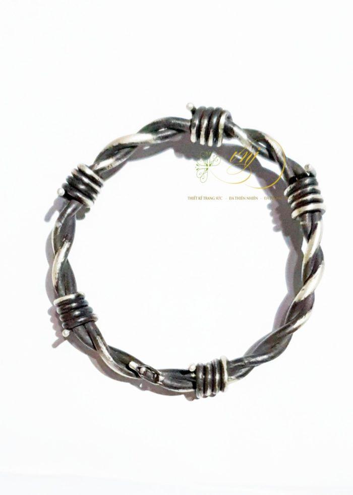 vòng tay xoắn thép gai bạc 925