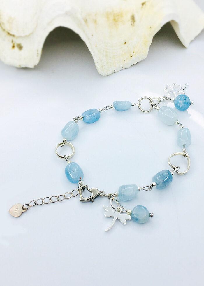 Vòng tay aquamarine mix charm